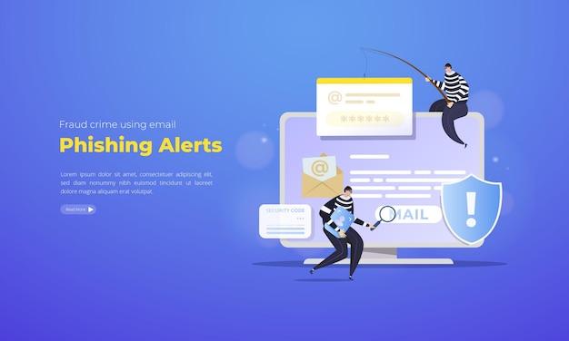 E-mail phishing waarschuwingen illustratie concept Premium Vector