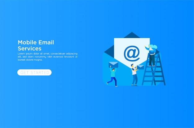 E-mail services illustratie Premium Vector