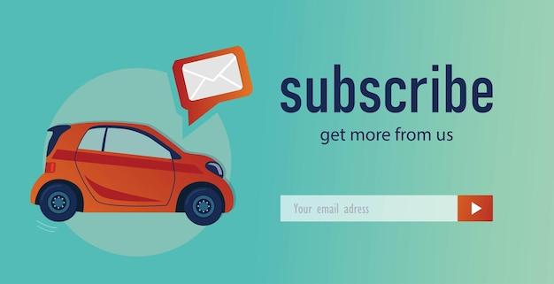 E-mailabonnementontwerp met hatchback-auto. online nieuwsbriefsjabloon voor automobielkanaal, winkel of webpagina Gratis Vector