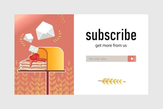 E-mailabonnementontwerp voor bakkerijwinkel. online nieuwsbriefsjabloon met heerlijke pannenkoeken in mailbox. gebak en zoetwaren concept Gratis Vector