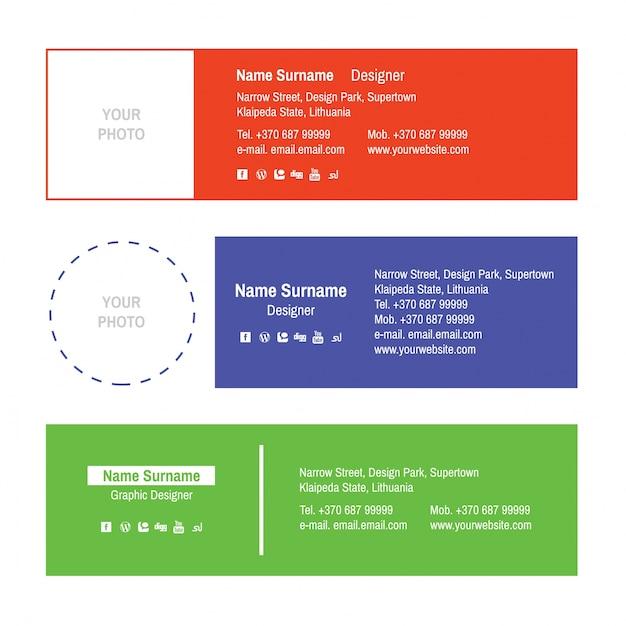 E-mailhandtekeningen ontwerpen Premium Vector
