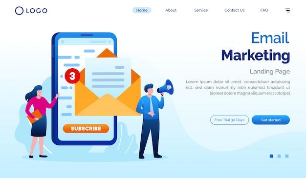 E-mailmarketing bestemmingspagina website illustratie platte vector sjabloon Premium Vector