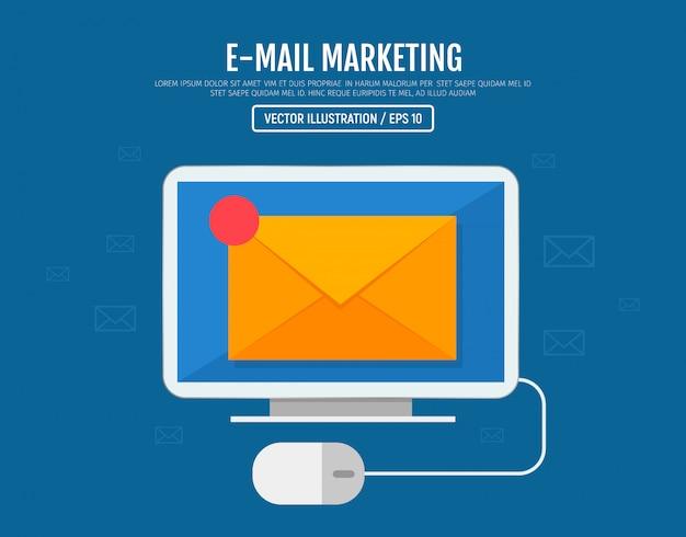 E-mailmarketing concept. sms-berichten verzenden en ontvangen. letter op het computerscherm. vector illustratie Premium Vector