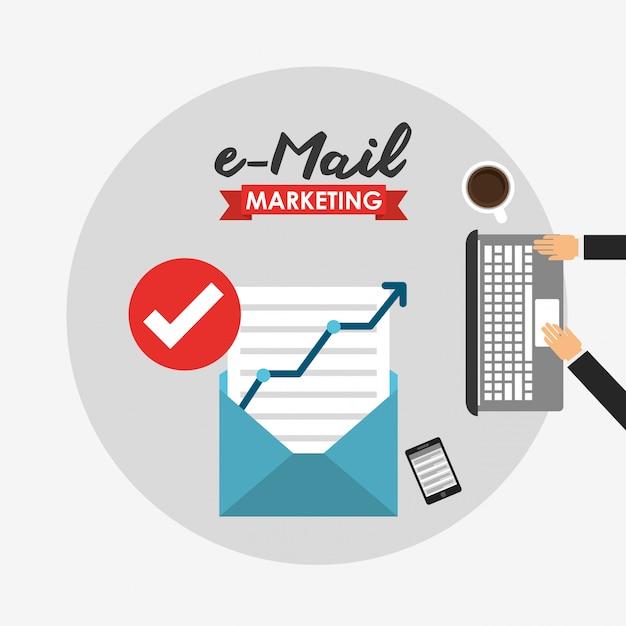 E-mailmarketing illustratie Gratis Vector