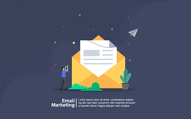 E-mailmarketing met mensen karakter banner Premium Vector