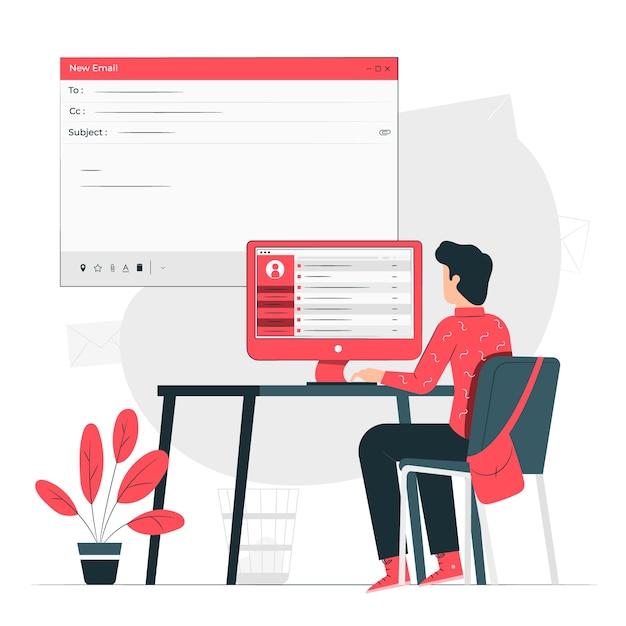 E-mails concept illustratie Gratis Vector