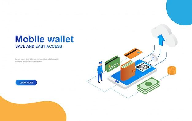 E portemonnee, mobiel bankieren concept isometrische bestemmingspagina websjabloon Premium Vector