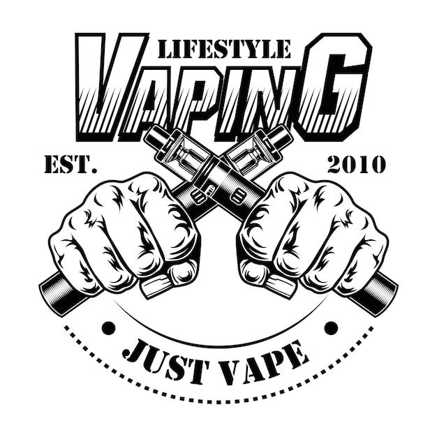 E-sigaretten vector illustratie. mannelijke menselijke handen met gekruiste elektronische sigaretten, levensstijl tekst Gratis Vector