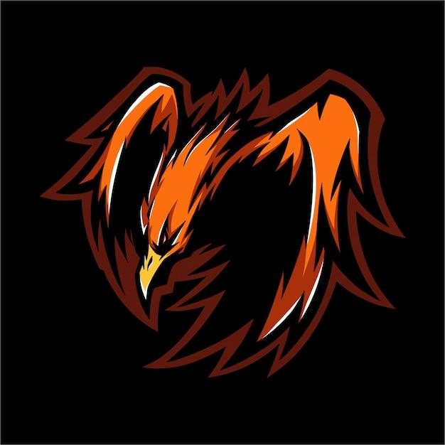 E sport logo fire phoenix klaar om aan te vallen Premium Vector