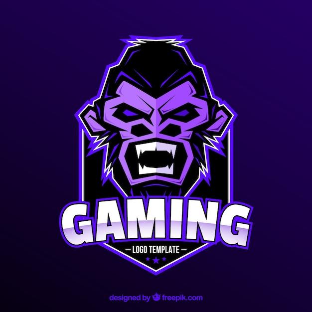 E-sport team logo sjabloon met gorilla Gratis Vector