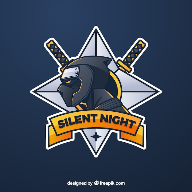 E-sport team logo sjabloon met ninja Gratis Vector