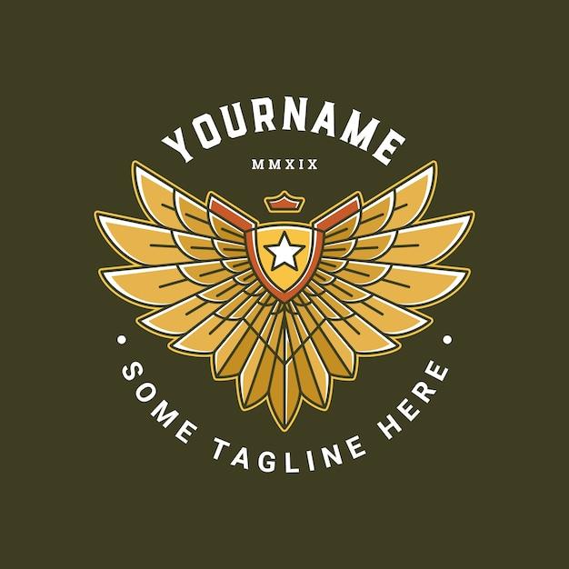 E-sports badge met wing logo template Premium Vector