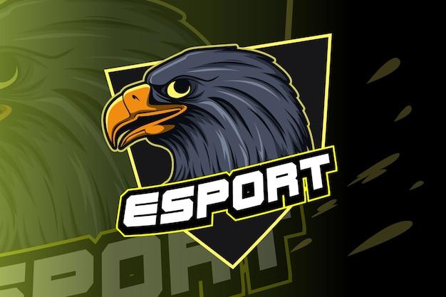 E-sports team logo sjabloon met adelaar Premium Vector