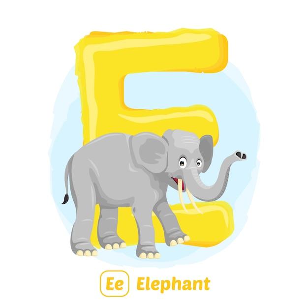 E voor olifant. premium illustratie tekenstijl van alfabet dier voor onderwijs Premium Vector