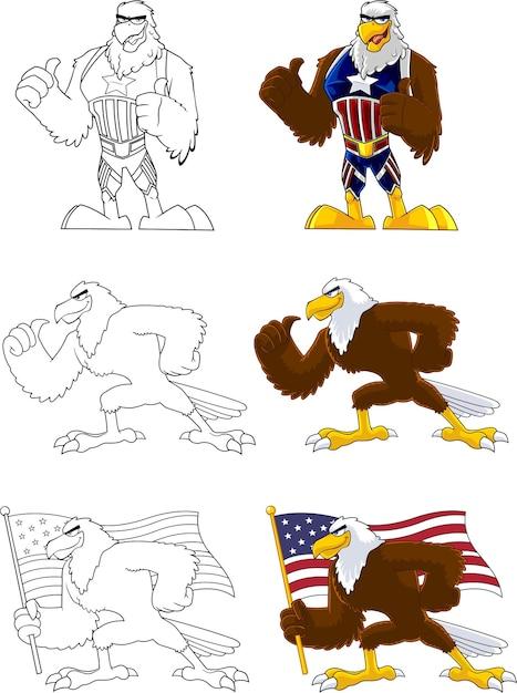 Eagle bird stripfiguur. collectie set geïsoleerd Premium Vector