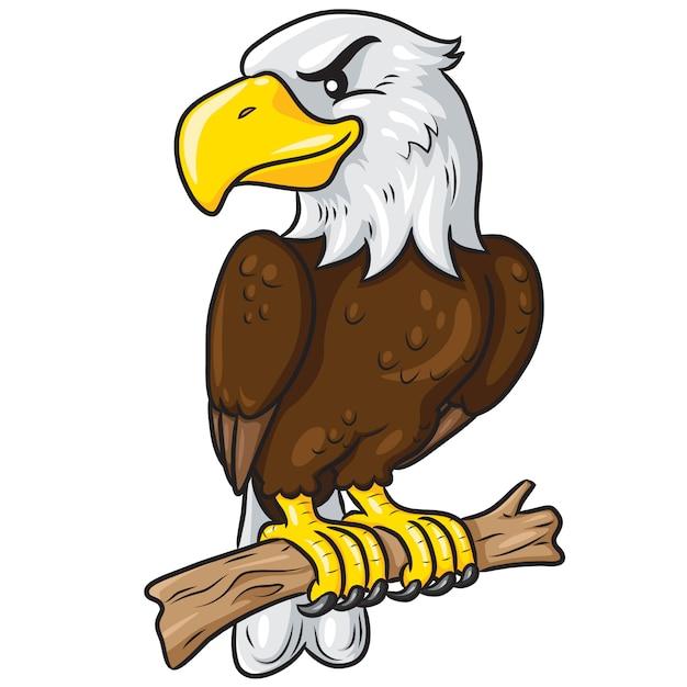 Eagle cute cartoon Premium Vector
