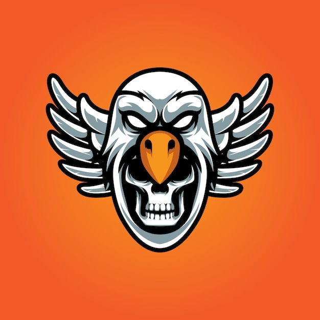 Eagle en skull e sport-logo Premium Vector