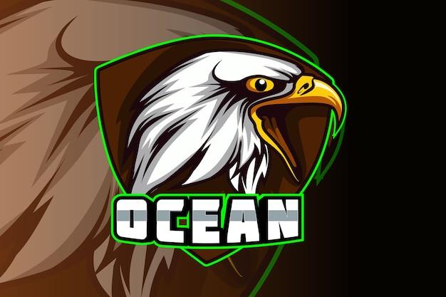 Eagle esport en sport mascotte logo-ontwerp in modern illustratie concept Premium Vector