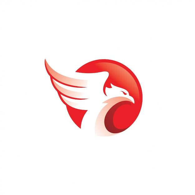 Eagle falcon hawk bird and wing-logo Premium Vector