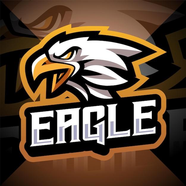 Eagle hoofd esport mascotte logo ontwerp Premium Vector