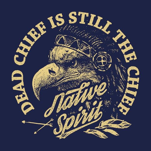 Eagle indian chief in tekenstijl Premium Vector