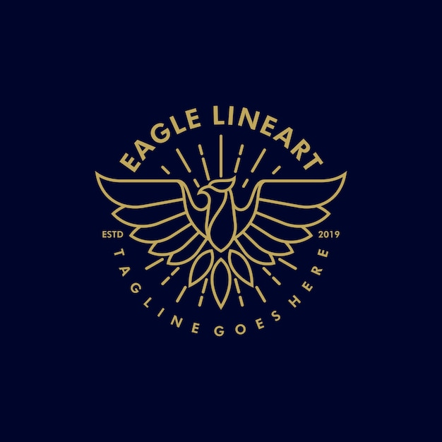 Eagle line art vintage illustratie vectormalplaatje Premium Vector