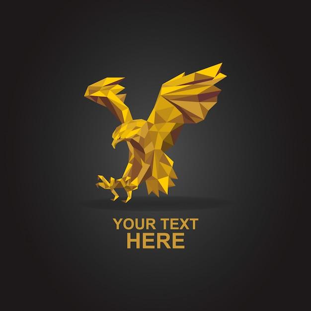 Eagle logo poly goud Premium Vector