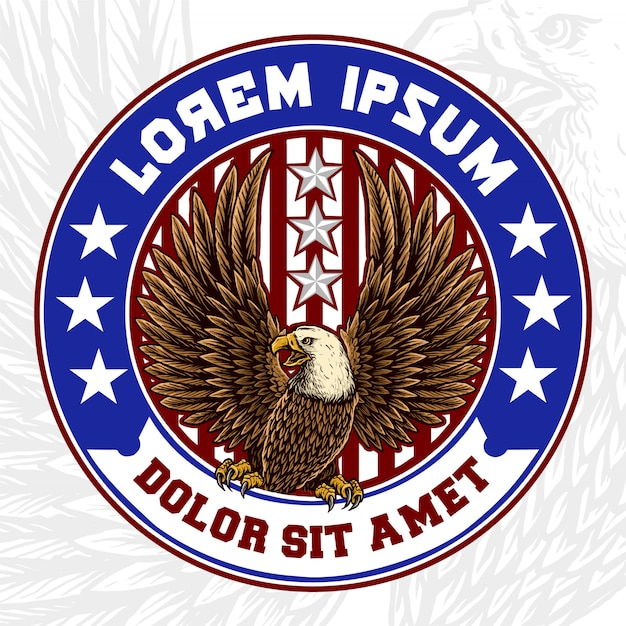 Eagle-mascotte met amerikaans vlagkenteken Premium Vector