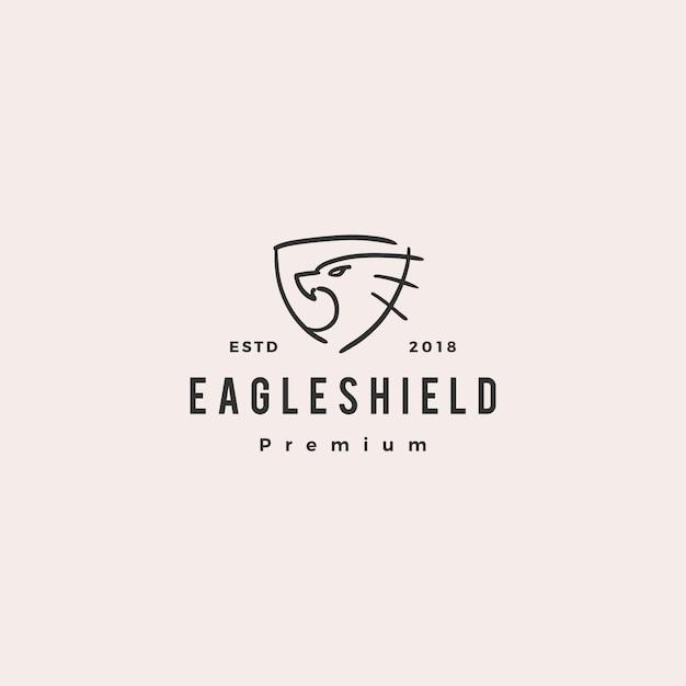 Eagle-schild doodle logo vectorillustratie pictogram Premium Vector