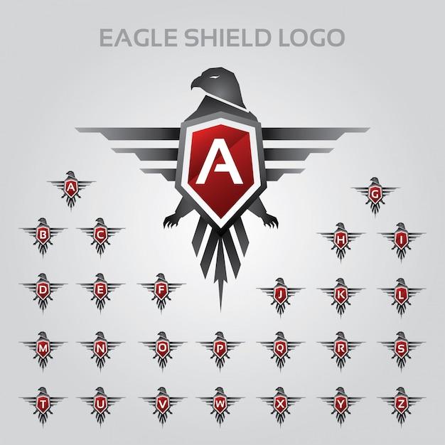 Eagle shield-logo met alfabet letter-set Premium Vector