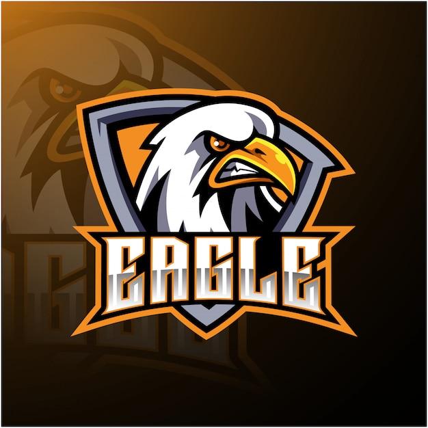 Eagle sport mascotte logo ontwerp Premium Vector