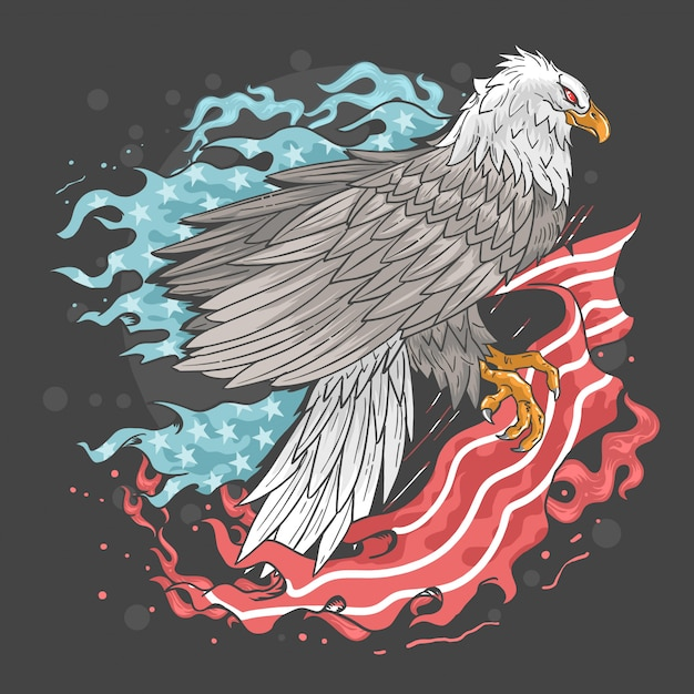 Eagle usa flag fire Premium Vector