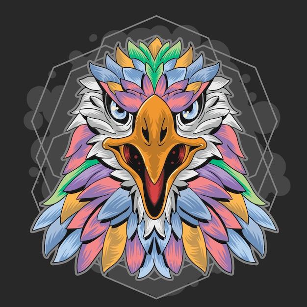 Eagle volle kleurenmetometrie Premium Vector