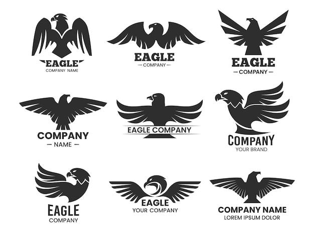 Eagle zwarte silhouetten. verzameling van geïsoleerde logo's met havikskop en bedrijfsnaam. Premium Vector