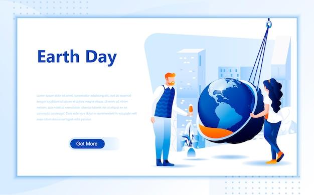 Earth dag platte bestemmingspagina sjabloon van de startpagina Premium Vector