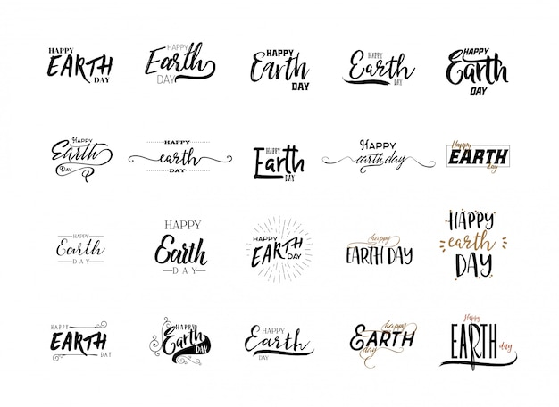 Earth day stickers set Premium Vector
