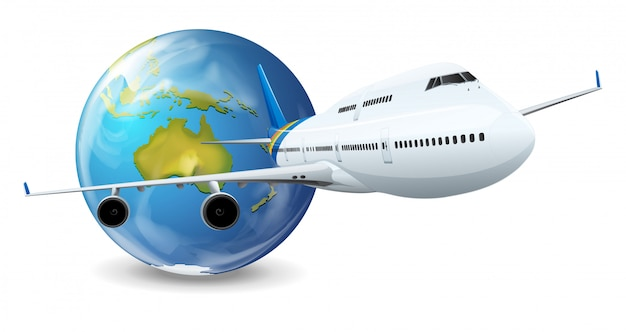 Earth globe en vliegtuig Premium Vector