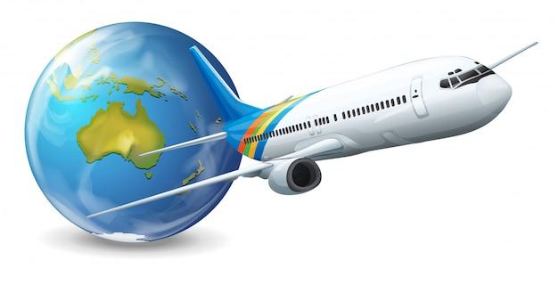 Earth globe en vliegtuig Gratis Vector