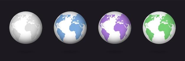 Earth globe kleurenset Premium Vector