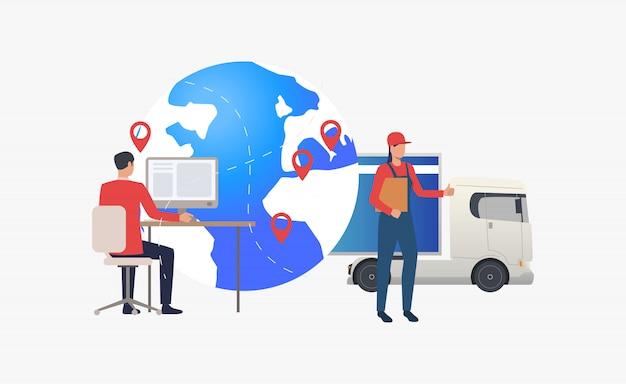 Earth globe met pointers, truck en logistiek expert Gratis Vector