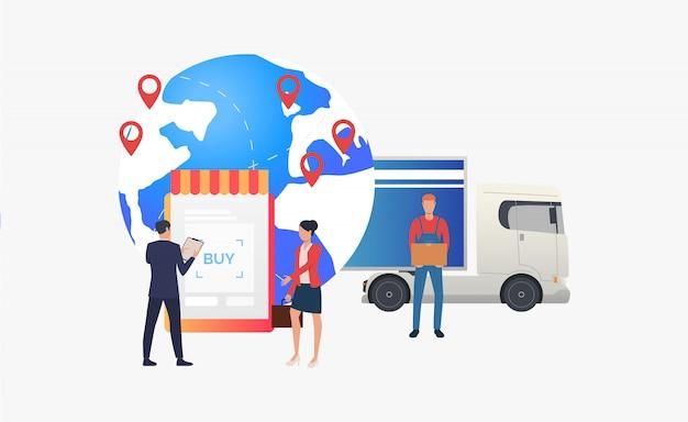 Earth globe met pointers, truck en retailers Gratis Vector