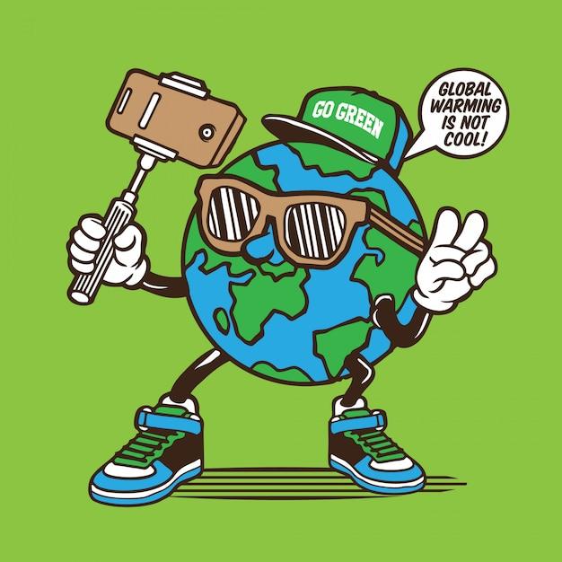 Earth globe selfie karakter Premium Vector
