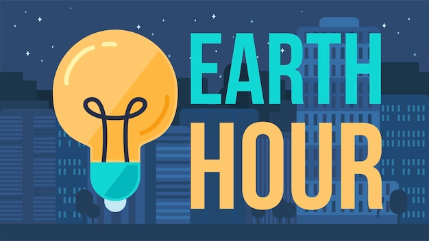 Earth hour banner Premium Vector