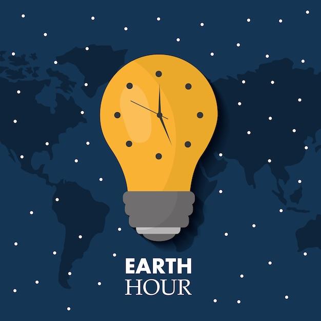 Earth hour bulb light ecology clock map stars Premium Vector