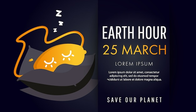 Earth hour day Premium Vector