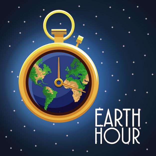 Earth hour ontwerp Premium Vector