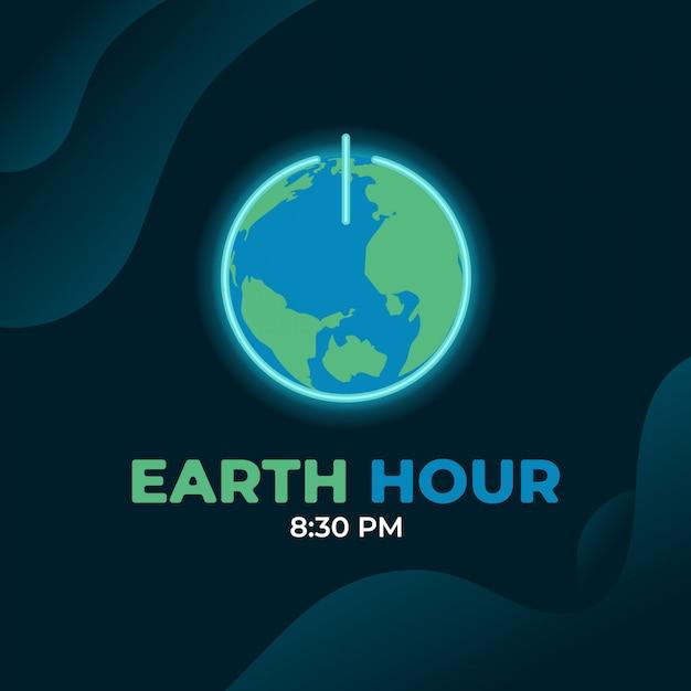 Earth uur dag Premium Vector
