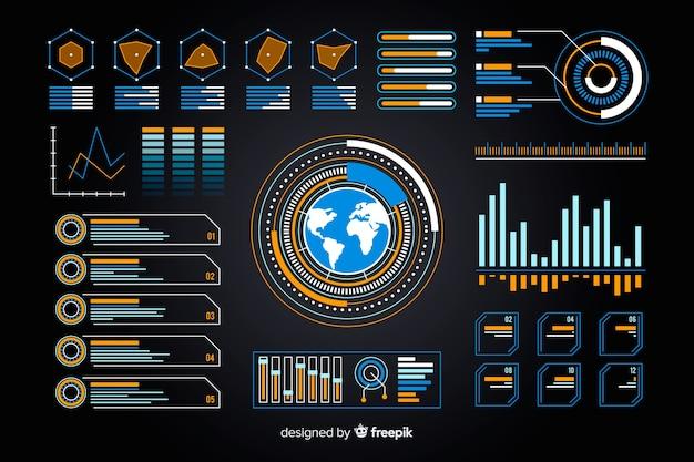 Earth-weergave in futuristische infographic collectie Gratis Vector