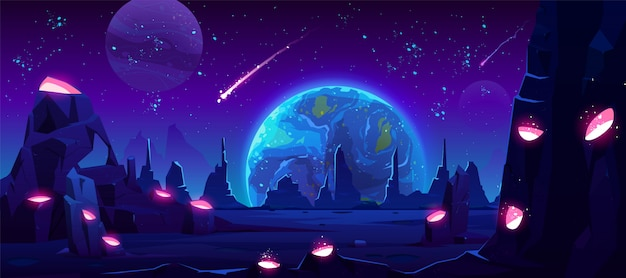 Earth-weergave 's nachts van buitenaardse planeet, neon ruimte Gratis Vector