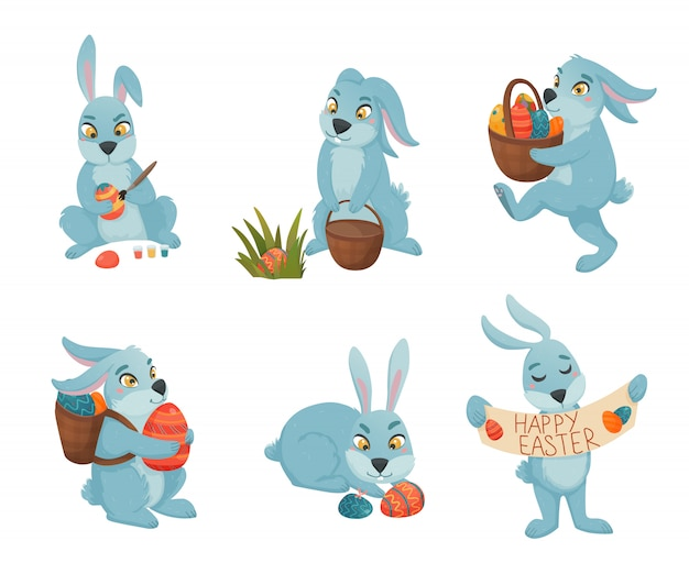 Easter bunnies cartoon collection Gratis Vector